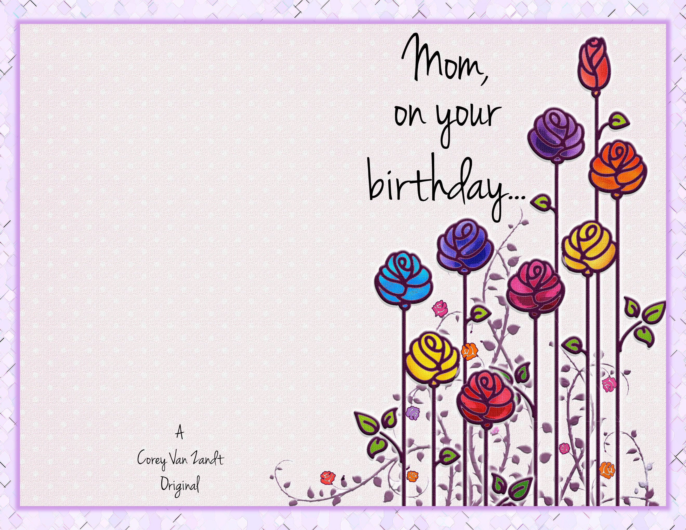 Mom Card Front  Happy Birthday Cards Templates