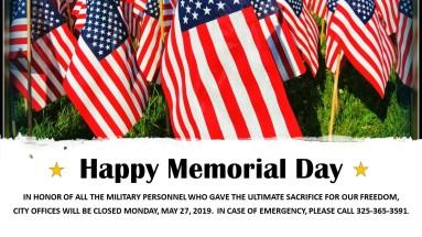16 x 9 Memorial Day